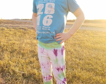 Girl's Tie Dye Capri Leggings, Girl's Tie Dye Leggings