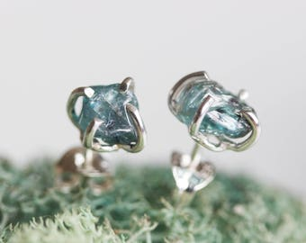 Rough gemstone stud earrings with Blue Zircon stones, sterling silver