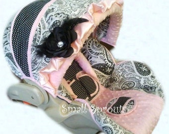 Marika~Black & White Paisley/Polka Dot/Light Pink Minky Dot Infant Car Seat Cover Set Infant car seat cover 5 piece set