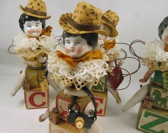 "Art Doll, ""Ginger, a Safari Sister"", Assemblage Doll with Antique Doll Parts and Vintage Blocks,"