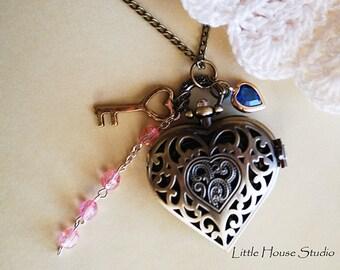 Filigree Pocket Watch, Watch Necklace, Watch, Locket Necklace, Gift for Her, Pocket Watch Pendant, Heart Pocket Watch, Victorian Charms