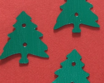 New Sequins - Green Metallic Christmas Trees - 25 pieces