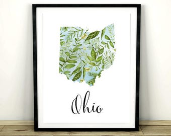 "Map of Ohio, Ohio Map, Printable Ohio Map, Ohio State Map, Instant Download, Ohio Decor, Printable Decor, Ohio Map Wall Art, 8x10"", 11x14"""