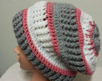 Crochet slouchy hat. Handmade slouchy beanie, warm hat, winter hat, women's hat, Christmas gift, birthday gift, gray hat. Warm and soft.
