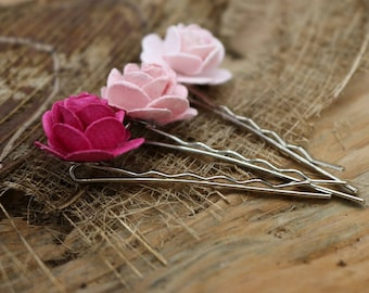 Pink Flower Hair Pins , Mulberry paper Flower Hair Pins, Bobby Pins ,Floral Hair Pins Set Bridesmaids(FL303)