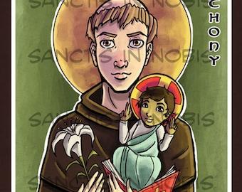 Saint Anthony of Padua Art Print, Catholic Saint Art Iconography, Confirmation Gifts