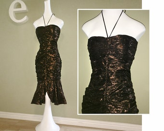 Sexy Fishtail Mermaid Halter Dress Vintage 1980s Metallic Copper Black 80s Party Dress Cocktail Disco Glitter Prom Dress Strapless Ruched XS