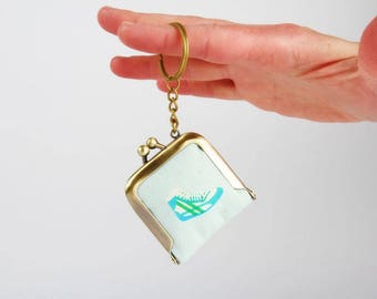 Keychain purse - Little kicks in aqua - Tiny purse / Metal frame coin purse / Japanese fabric / Cotton and steel / sneakers / Melody Miller