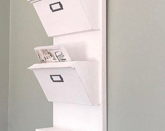 Mail Organizer for Entryway, White Entryway Organizer for mail, Hanging Mail Organizer Wall, Mail Holder, Mail Sorter, Dog Leash Holder,