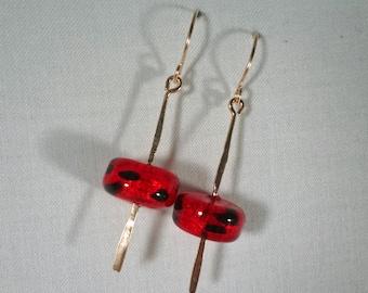 Red and Black Italian Glass Earrings(LVE120)