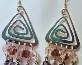 Purple Triangle Crystal Earrings