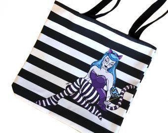 Cheshire Cat pinup tote bag - reusable shopping bag - canvas grocery tote - Alice in wonderland - market tote - stripes