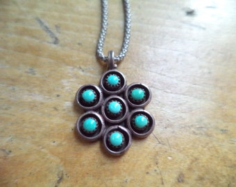 Vintage Sterling Navajo Turquoise Snake Eyes Pendant Sterling 925 Chain Necklace