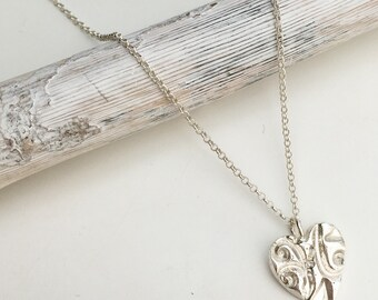 Sterling Silver Cast Textured Heart  Necklace