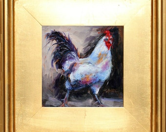 Rooster Oil Painting Portrait, Original Rooster Oil Painting,  Chicken Painting, Chicken Art, small painting, in Gold Frame,  Gift Item