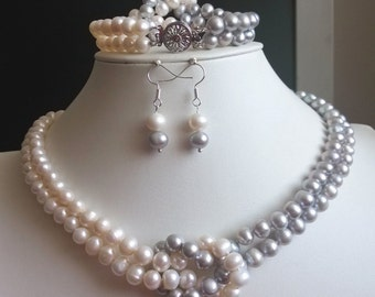PEARL SET- double rows  7-8mm  white gray pearl necklace bracelet earring set