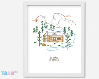 Yosemite El Capitan Printable Wall Art, Illustration Poster, Home Decoration, Digital Print, Children Room Decoration, Instant Download