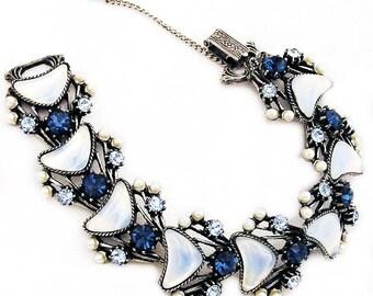 Florenza Blue Rhinestone and Opalescent Glass Link Bracelet