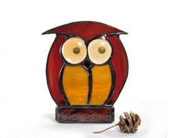 Candle Holder Tea Light Stained Glass Votive Owl Amber Chocolate Votive Handmade OOAK