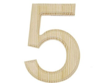 "6"" Blank Unfinished Wooden Number 5 (Five)"