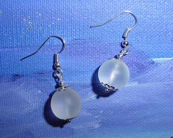 Opaque white beads for pierced earrings