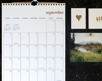 simple gold foil wall calendar - start any month