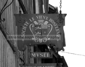 Honfleur France shop sign black and white photograph