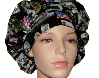 Bouffant Scrub Hat-Army fabric-ScrubHeads-Scrub Cap-Surgical Scrub Hat-Scrub Hats For Women-Army Scrub Hat-Military Scrub Hat