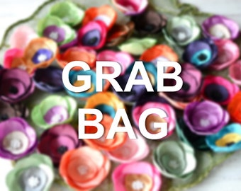 GRAB BAG- Satin fabric flowers, silk flower appliques, small satin roses bulk, flower embellishment grab bag, wholesale flowers (5pcs)