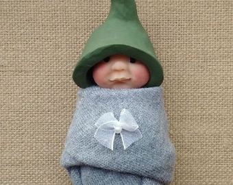 Clay BABY: Awake Baby, Green Elf Hat, Gray Swaddling Cloth, Original, OOAK Sculpture, Midwife or Doula Gift Idea, New Baby