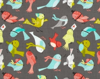 Fabric birds, patchwork fabric, fabric camelot fabric grey background