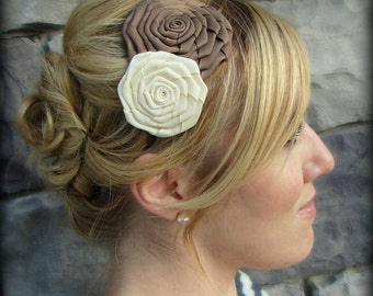 Headband for Women, Taupe and Ivory Double Folded Rose Headband, Flower Headband, Tan Headband