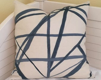 Kelly Wearstler Channels in Periwinkle and Oat Designer Pillow Cover - Both Sides with or without Self Welt - Square, Lumbar, and Euro Sizes