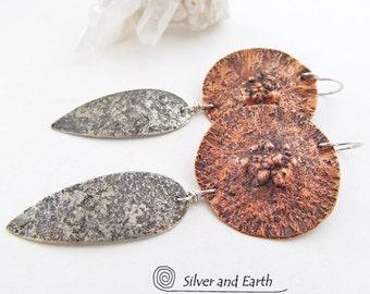 Mixed Metal Earrings, Sterling Silver & Copper Earrings, Long Dangle Earrings, Earthy Organic Jewelry, Bold Earrings, Handmade Metal Jewelry