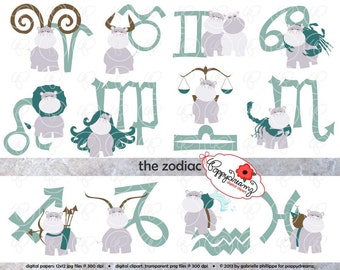 The Zodiac - Clip Art Pack (300 dpi transparent png) Birthday Horoscope Zodiac Symbols Signs Hippo Clipart