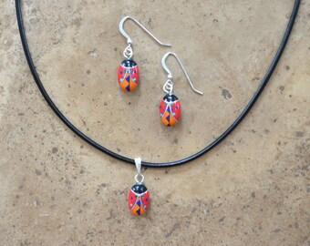 Zuni Fetish style Ladybug Earrings, Necklace, & SET  (Multi Inlay)