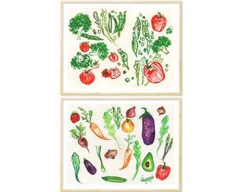 French Provincial Vegetable Art, Kitchen Print Set of 2, Veggies, Vegetable Poster, Eat Your Veggies, Watercolor Veg, Tomato Kitchen Decor