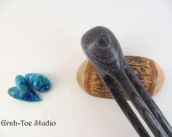 Hair Fork, Avalon Tusk 3 Prong Hair Stick,Charcoal Wood,Wooden Hair forks, Hair Stick,Hair Accessory Grahtoe studio,Man Bun,Mothers Day gift