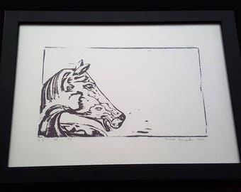 Horsehead - Print from original woodcut by south-tyrolean artist Herbert Lampacher