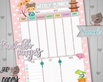 Weekly Planner, Printable Planner, Printable Planner Pages, Week Planner, Organizing Printables, A4 Planner, Planner Pages, Kokeshi