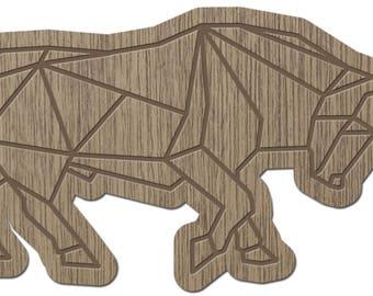 Taurus - ORIGAMI - laser cut wood - brooch
