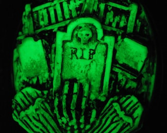 Halloween Jewelry - Glow in the Dark Gothic Necklace  - Victorian Cemetery Necklace with Tombstones Caskets and Skeleton Hand