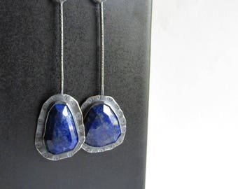 Asymmetrical Lapis Lazuli Earrings - Rose Cut Lapis - Lapis Jewelry - Blue Stone Earrings - September Alternate Birthstone