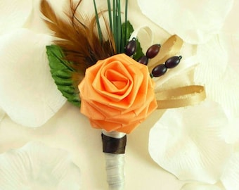 Fall Harvest, Origami Rose Boutonniere, Grooms Boutonniere, Autumn Boutonniere, Origami Wedding, Rustic wedding, Barnyard wedding