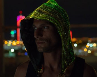 Rave Hood Burning Man Festival Clothing LED Light Up Hood