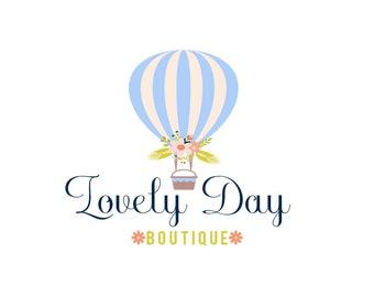 Premade Logo, Logo Design, Hot Air Balloon Logo, Floral Logo, Boutique Logo, Business Logo, Branding Logo, Logo, Logos, Floral Logo, OOAK