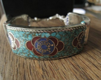 Tibetan Silver Crushed Turqoise Coral Lapis Tribal Clasp Bracelet 7.25-7.5 (4)