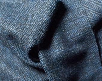 Navy Herringbone Harris Tweed with label extra wide 150 cm hand-woven Shetland wool