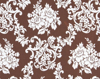 1 YARD White and Brown Floral Damask Cotton Fabric Free Spirit Girls World Vibe Carrie in Brown by Jennifer Paganelli pwjp058-brown
