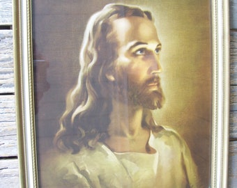 1940 Jesus Framed Kriebel and Bates Head of Christ Warner Sallman Lithograph Wood Religious Art With Glass Ivory and Gold Frame